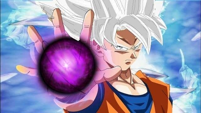 Dragon ball super une Image filtrée, Goku rend le Hakai complet. 14