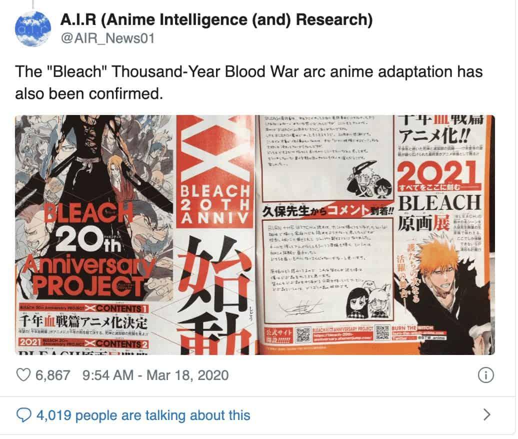 Annonce de l'anime Bleach Thousand blood war, date de sortie, autres nouveaux anime 23