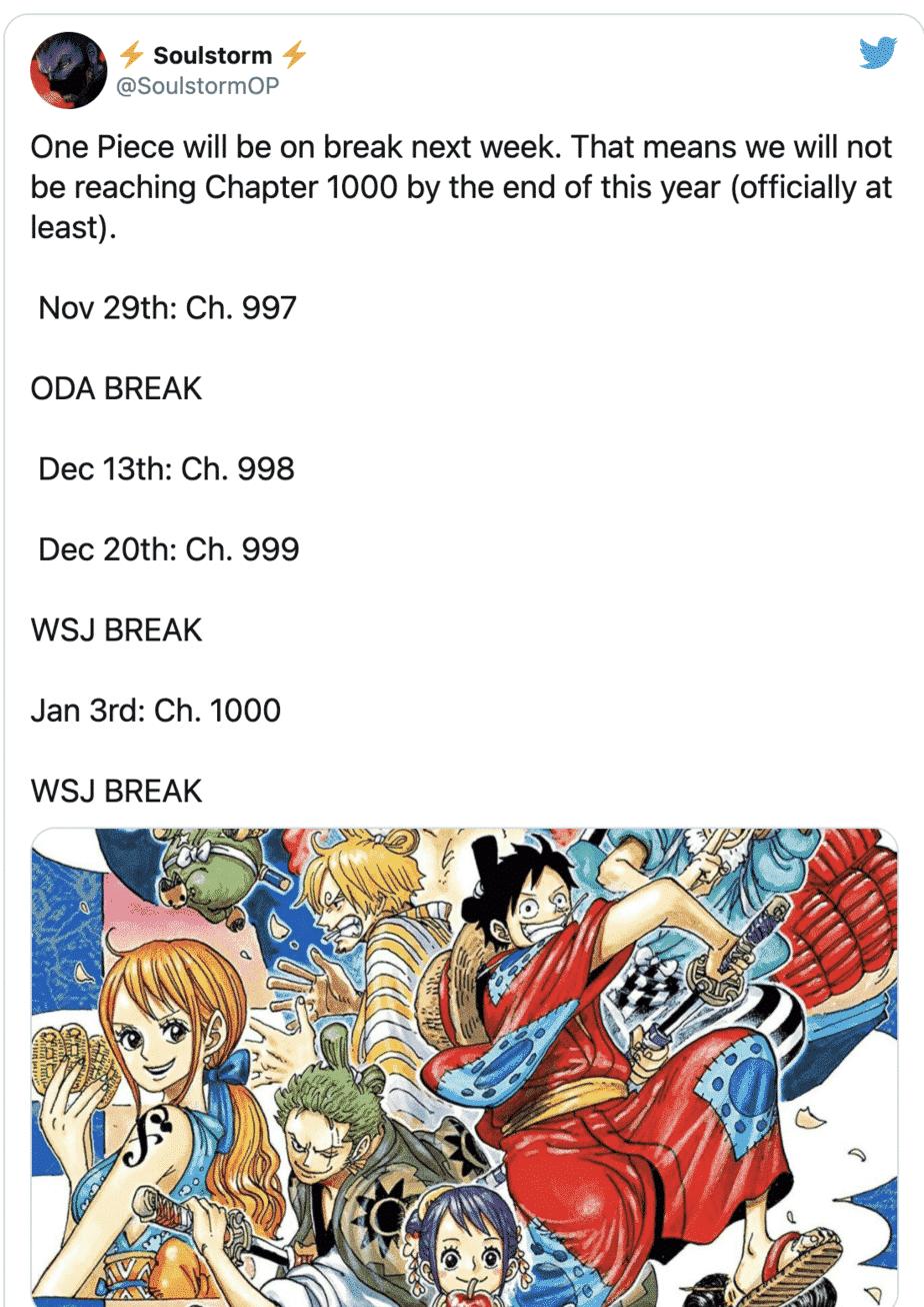 Le manga One Piece diffusera son 1000e épisode l'année prochaine 22