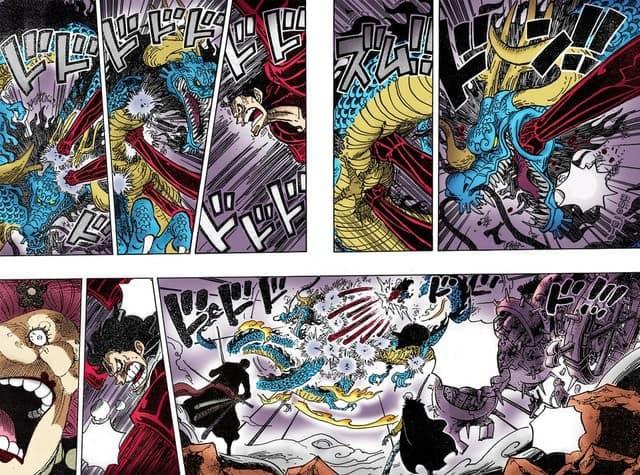 One Piece chapitre 1005 Quelle sera la force de la forme mi-humaine, mi-dragon de Kaido? 22